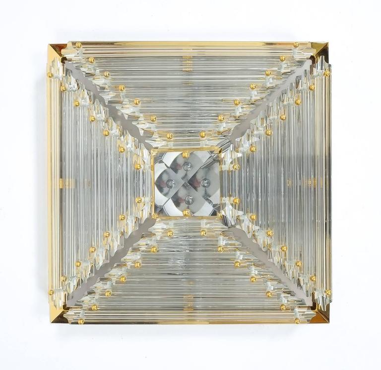 Gilt Pair Pyramide Crystal and Brass Venini  Murano Lamps Flush Mounts, circa 1970 For Sale