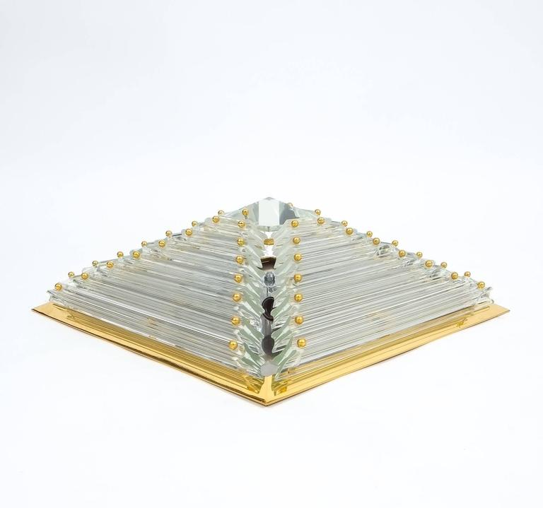 Mid-Century Modern Pair Pyramide Crystal and Brass Venini  Murano Lamps Flush Mounts, circa 1970 For Sale