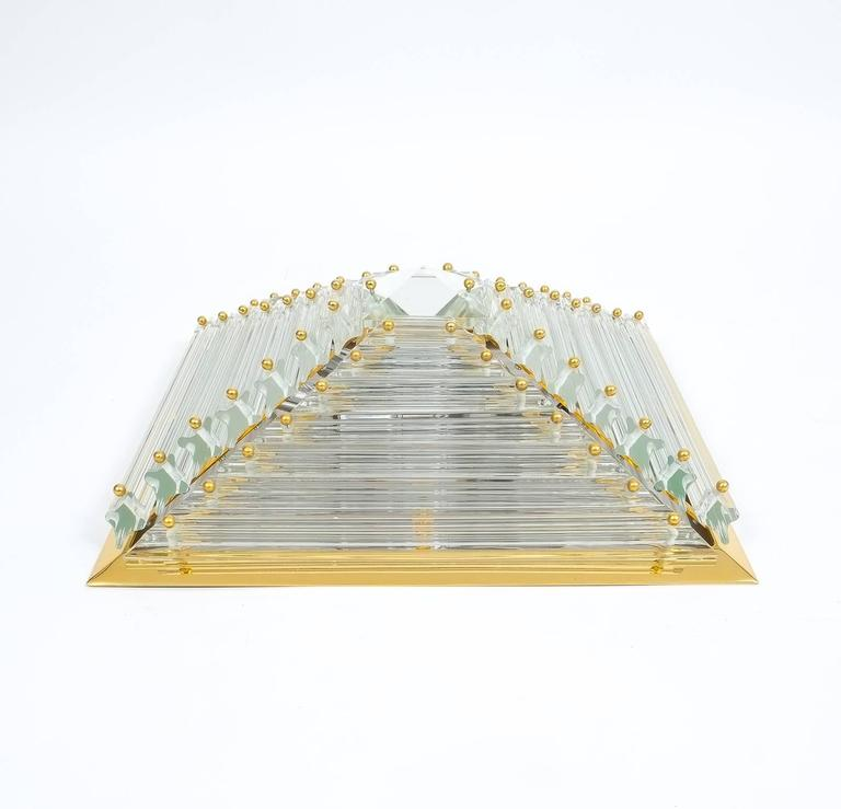 Late 20th Century Pair Pyramide Crystal and Brass Venini  Murano Lamps Flush Mounts, circa 1970 For Sale