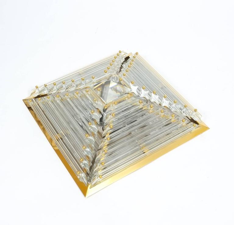 Cut Glass Pair Pyramide Crystal and Brass Venini  Murano Lamps Flush Mounts, circa 1970 For Sale