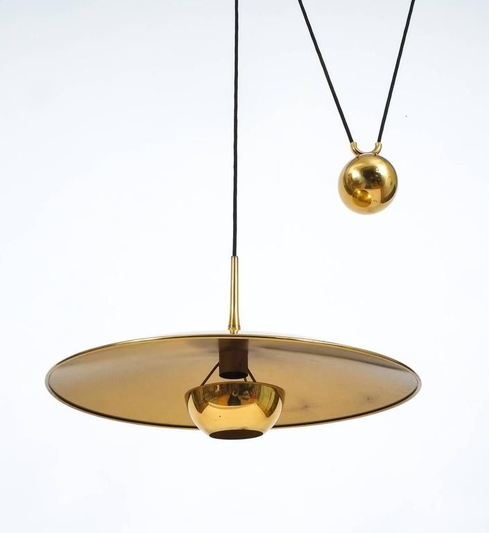 Large Adjustable Polished Brass Counterweight Pendant by Florian Schulz In Good Condition In Vienna, AT