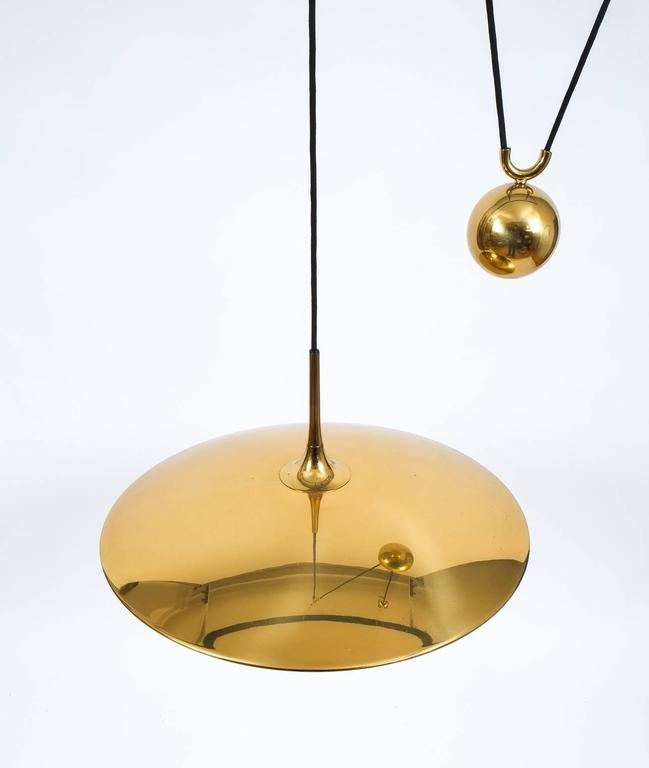 Mid-Century Modern Large Adjustable Polished Brass Counterweight Pendant by Florian Schulz