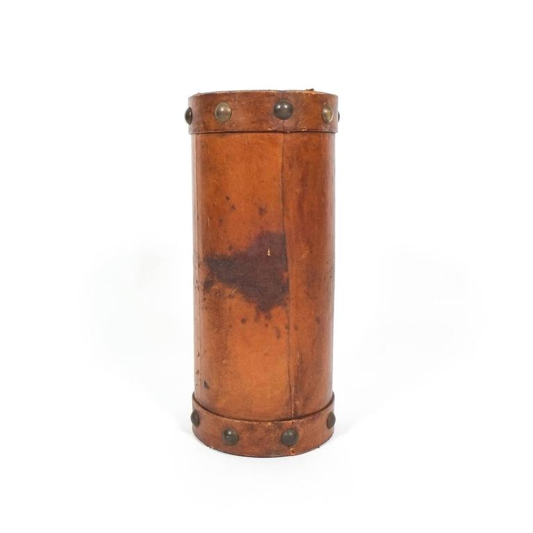 French Leather Umbrella Stand with Brass Knobs, France, circa 1950 For Sale