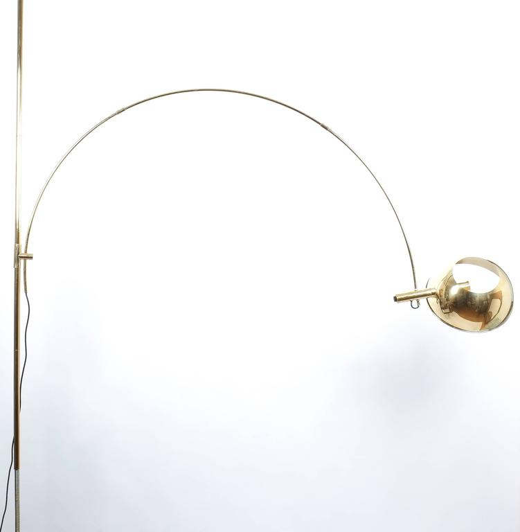 Mid century modern refurbished brass floor lamp with adjustable arc by florian schulz 1970