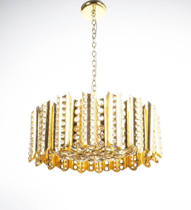 Large Gold-Plated Brass Glass Chandelier Lamp Attributed to Gaetano Sciolari For Sale 2
