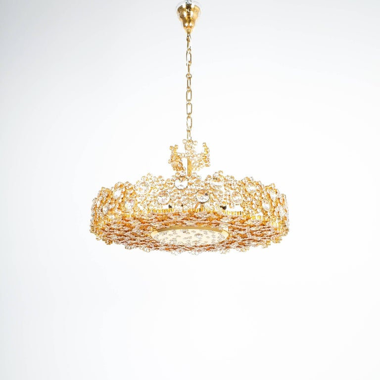 Palwa crystal glass gold brass chandelier refurbished lamp 1960 palwa crystal glass gold brass chandelier refurbished lamp mozeypictures Images