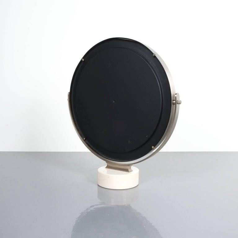 Brass Sergio Mazza Large Swivel Marble Table Mirror, Italy, 1960 For Sale