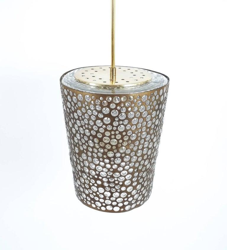 Pair of Limburg Brass Glass Bronze Pendant Lamps, Germany, 1960 10