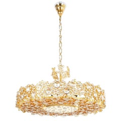 Palwa Crystal Glass Gold Brass Chandelier Refurbished Lamp, 1960