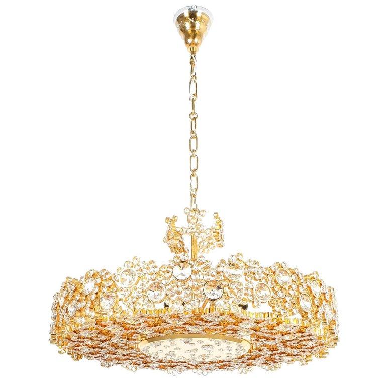 Palwa Crystal Glass Gold Brass Chandelier Refurbished Lamp, 1960