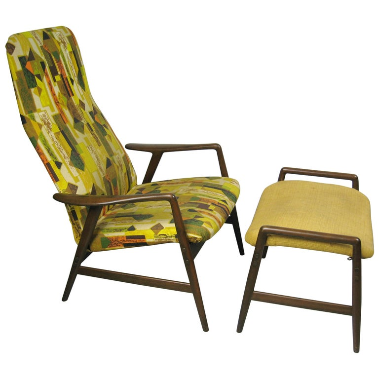 Midcentury Folke Ohlsson DUX Recling Chair with Ottoman, Mid-Century Modern For Sale