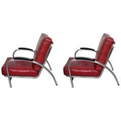 Two Art Deco Royal Metal Red Tubular Steel Club Chair Matter of Gilbert Rohde