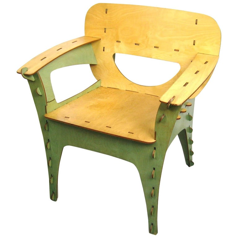 Unique Green Puzzle Chair by David Kawecki San Francisco Bend Plywood