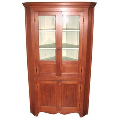 1850s Cherry Corner Cupboard Farm House Rustic Cabinet