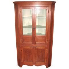 1850s Cherry Corner Cupboard Farm House Rustic Cabinet