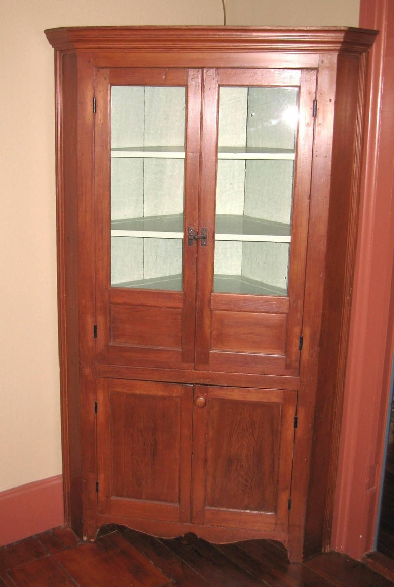 1850s Cherry Corner Cupboard Farm House Rustic Cabinet For ...