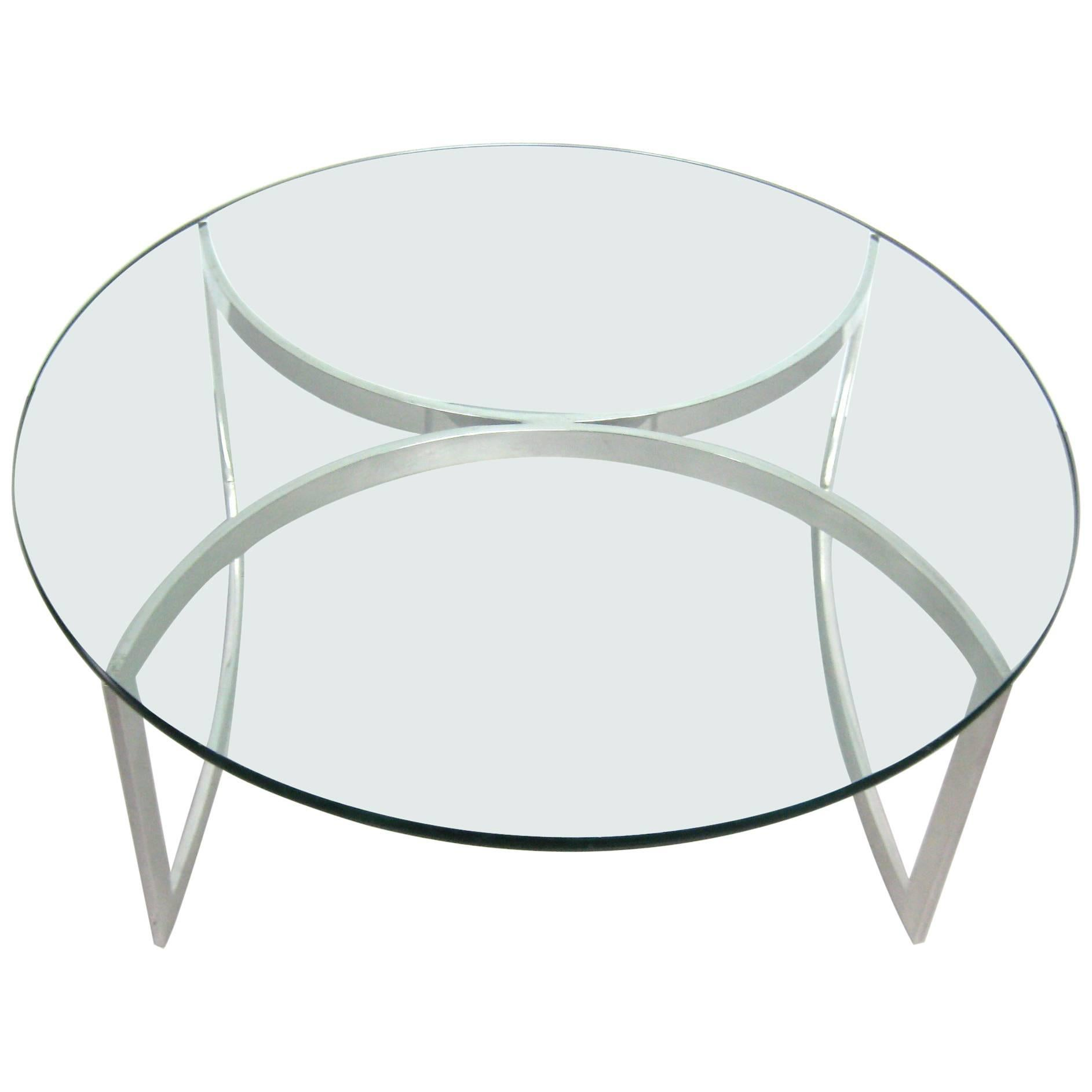Exceptionnel Late Mid Century Modern 1970s Stainless Steel Round Glass Top Coffee Table  For Sale