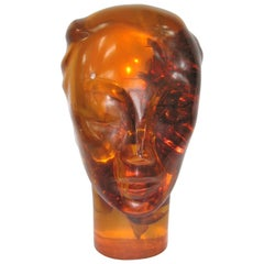 1930s Art Deco Life-Size Carved Catalin Head Sculpture