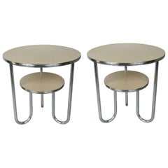 Pair of 1930s Royal Chrome End Tables Art Deco