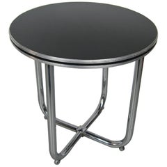 1930s Streamline Royal Chrome Art Deco Chrome and Black Side Table