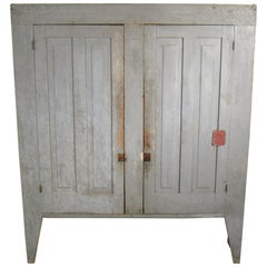 19th Century Primitive Two-Door Farm House Jelly Rustic Cupboard