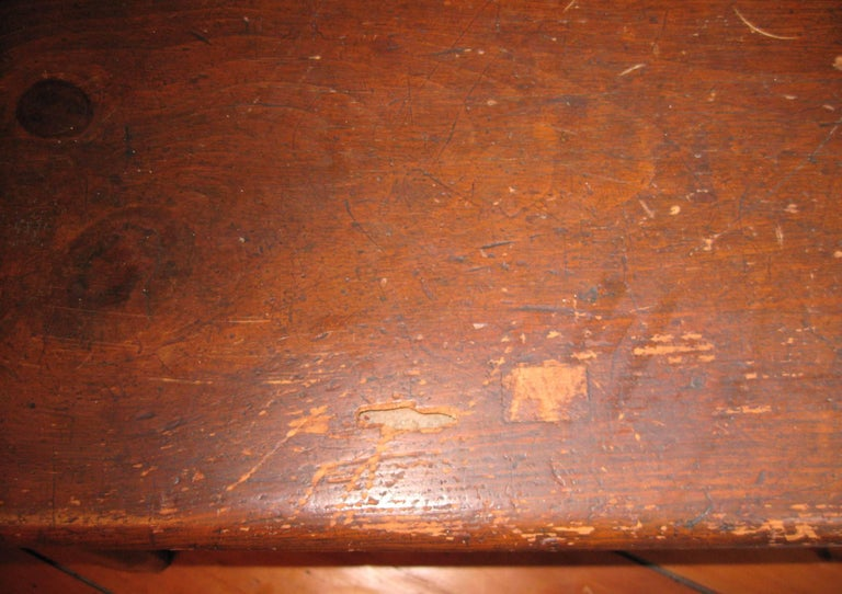 Hand-Crafted 1850s Antique Deacon's Farmhouse Rustic Bench For Sale
