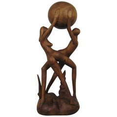 Large Direct Wood Carving Woman and Man Figural Sculpture