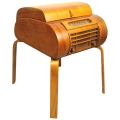 Bent Plywood 1940s Radio Bsr Phonograph in the Matter of Alvar Aalto