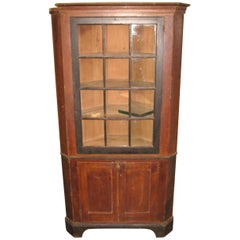1830s Primitive Farmhouse Corner Cupboard Pine Cabinet