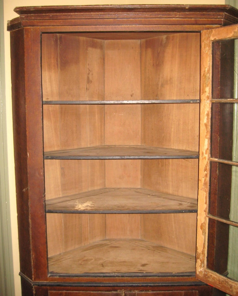 Knotty Pine Kitchen Cabinets For Sale: 1830s Primitive Farmhouse Corner Cupboard Pine Cabinet For