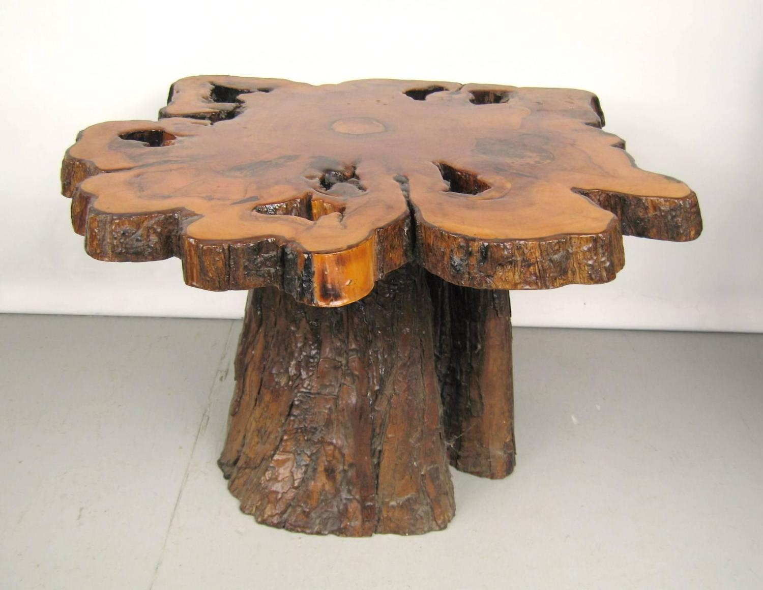 Natural Form Tree Slab-Top and Stump Coffee Table For Sale ...