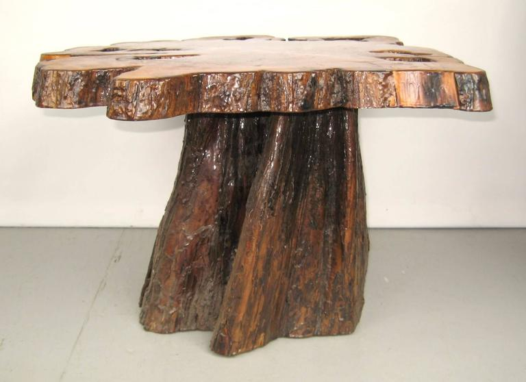 Natural Form Tree Slab Top And Stump Coffee Table For Sale