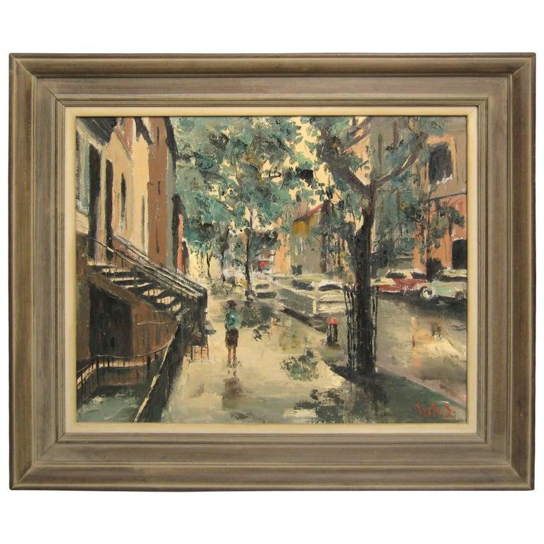 60th St Park Ave and Lexington Ave Oil on Canvas Midcentury New York City