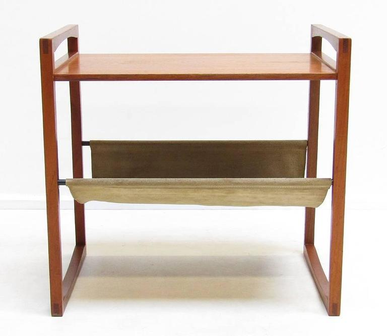 Perfect Graceful Danish Side Table And Magazine Rack In Teak And Suede 3