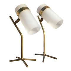 Rare Pair of Petite Plexiglas and Brass Table Lamps, France, 1950s