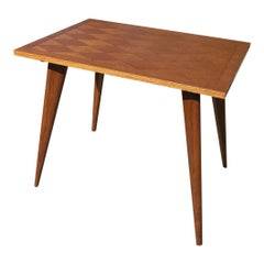 Elegant Minimalist Petite Solid Oak Marquetry Table, France, 1950s