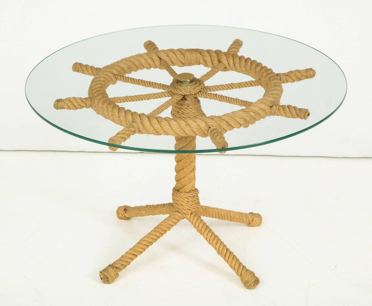 Four legs side table Glass top Brass details Good vintage conditions.