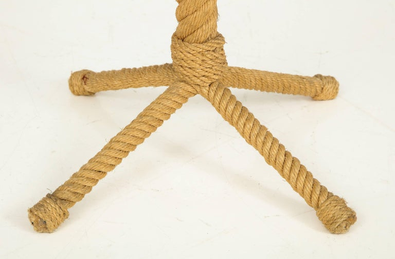 French Rope Rudder-Shaped Petite Side Table by Audoux Minet, France, 1960s For Sale