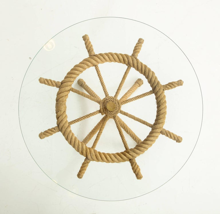 Mid-20th Century Rope Rudder-Shaped Petite Side Table by Audoux Minet, France, 1960s For Sale