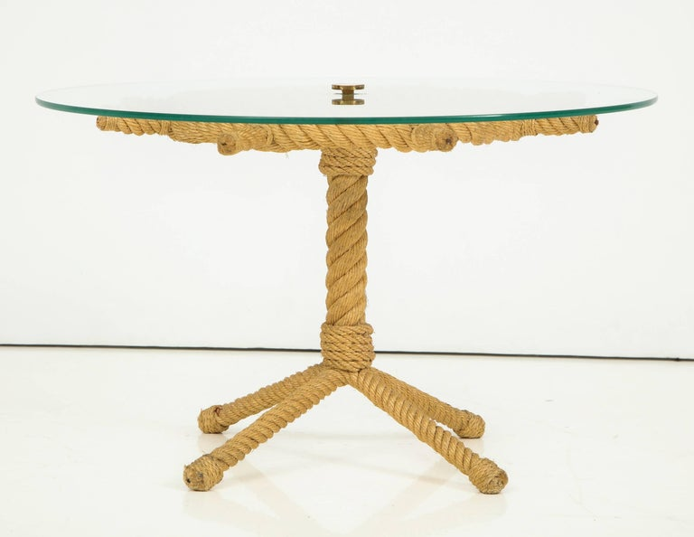Rope Rudder-Shaped Petite Side Table by Audoux Minet, France, 1960s For Sale 1