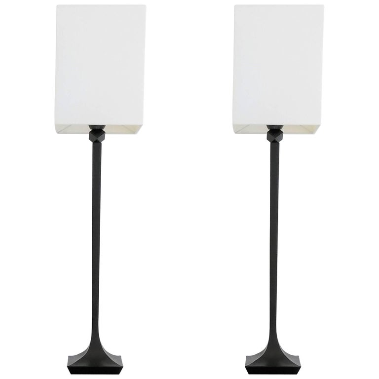 Pair of Solid Bronze Table Lamps by RIchard Peduzzi, France, 2005 For Sale