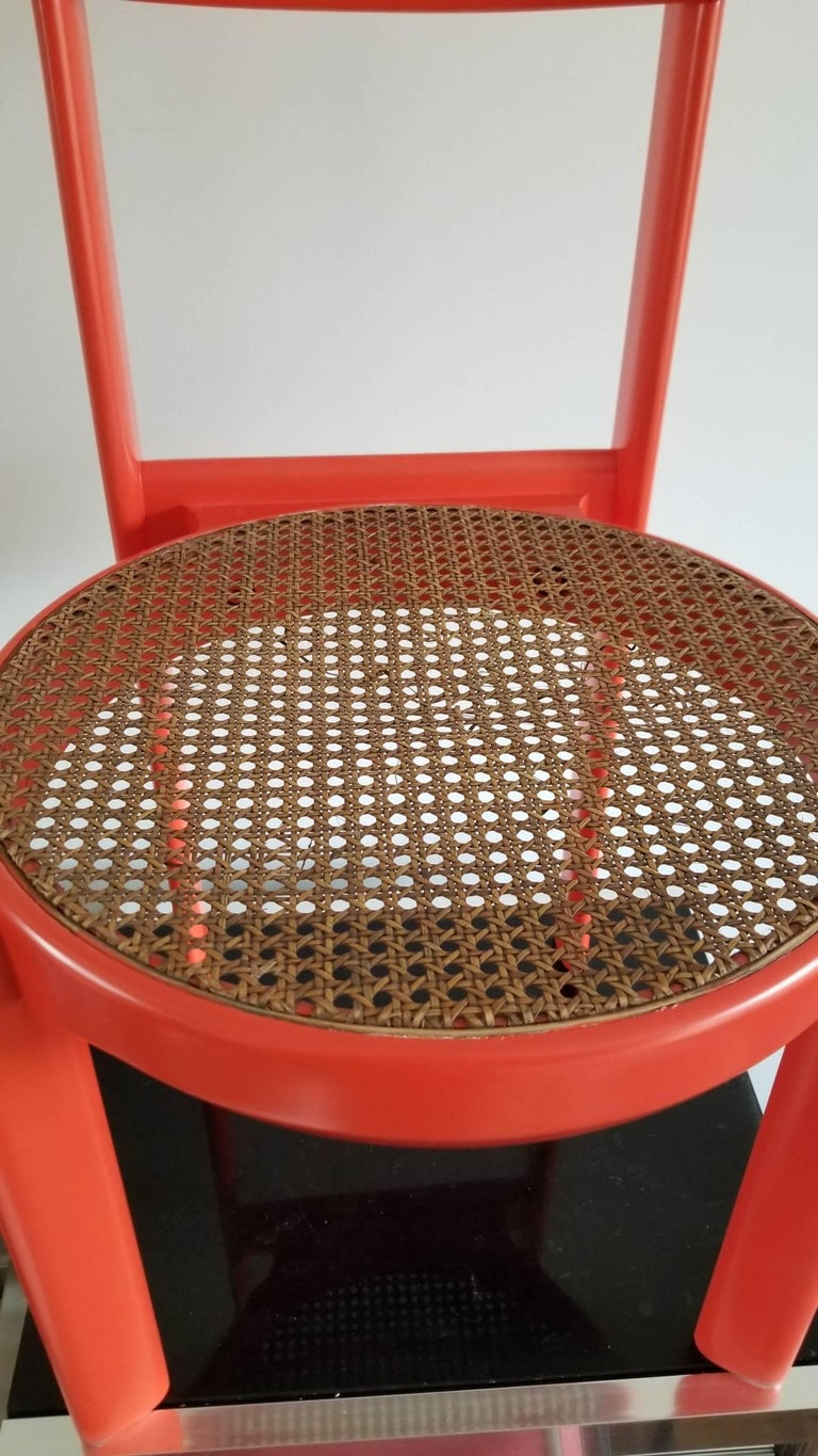 Late 20th Century Unusual Set of two Caning and Orange Lacquer Chairs, France, 1970s For Sale