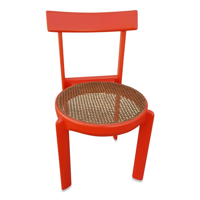 French Unusual Set of two Caning and Orange Lacquer Chairs, France, 1970s For Sale