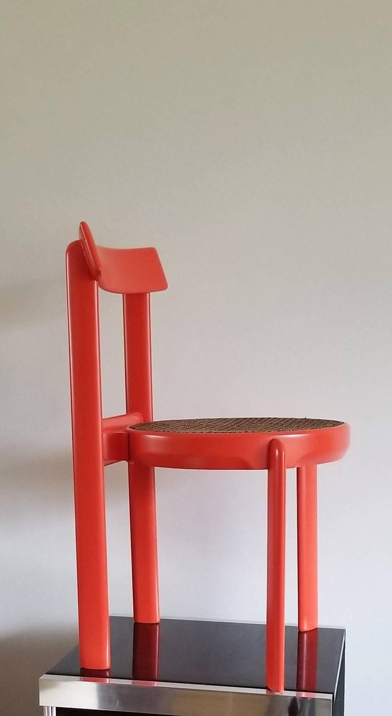 Lacquered Unusual Set of two Caning and Orange Lacquer Chairs, France, 1970s For Sale
