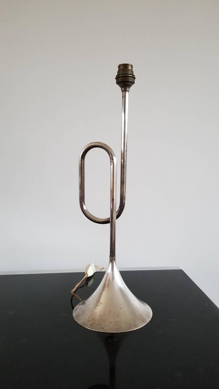 Silver Plated Trumpet Shaped Table Lamp France, 1970s