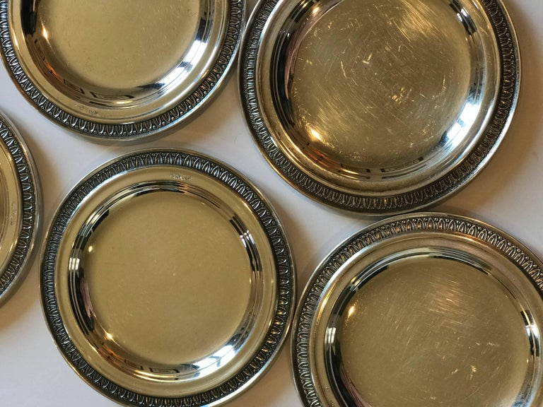 Set of six vintage Perugia & C. Italian 800 silver dishes used as butter pats