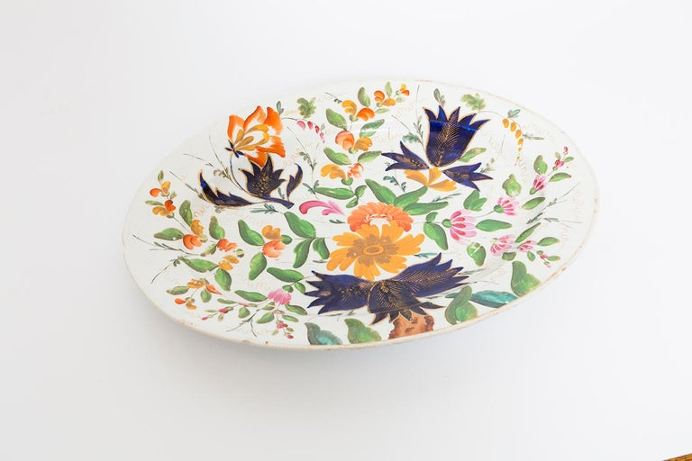 19th Century Porcelain Plate with Floral Design For Sale 8