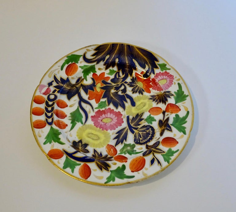 19th Century Porcelain Plate with Decorative Floral Design In Good Condition For Sale In Nashville, TN