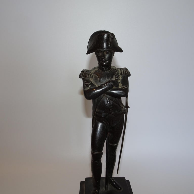This is a stunning 19th century black bronze statuette of Napoleon Bonaparte mounted on a black base. Napoleon Bonaparte was born August 15 1769 and died May 5 1821 Napoleon's campaigns are studied at military academies the world over. While