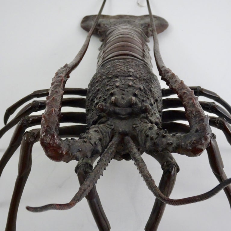 19th century dark bronze crustacean figurine in extraordinary detail.